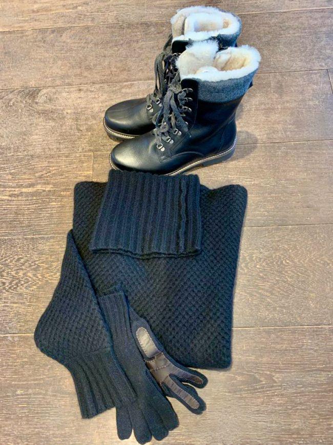 Elegante Mode Grünwald und Starnberg von Anja Hain. Schuhe, Stiefeletten, Pullover, Kaschmir, Handschuhe 2021